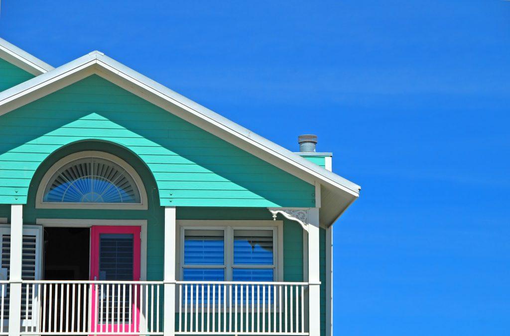 mint and pink coastal home